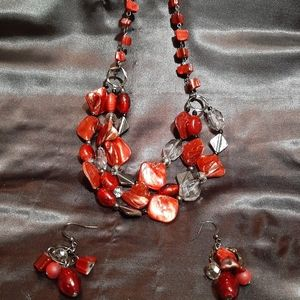 3 strand ruby red necklace and earring set